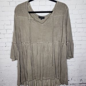 M Medium POL Women's Tunic Top Gray Boho Bohemian